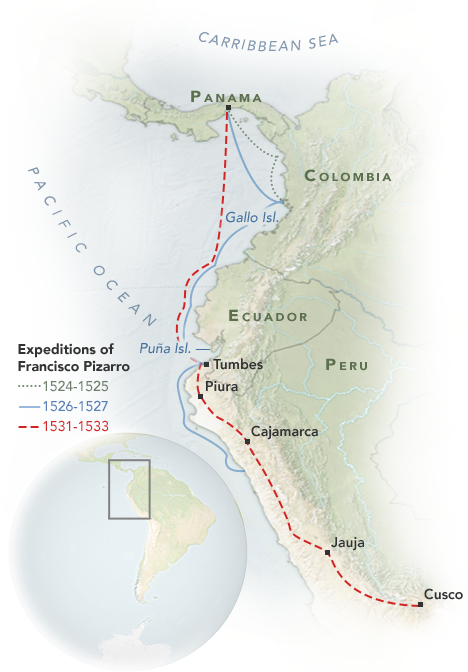 Map showing the approximate routes of the conquests of Francisco Pizzaro.