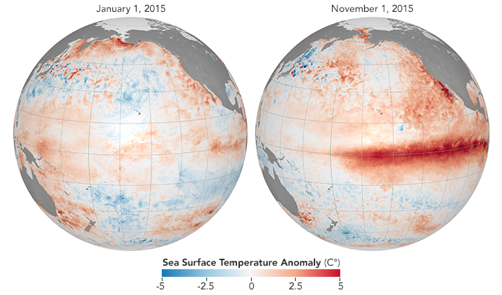 Map comparing sea surface temperature anomalies before and during an El Niño.