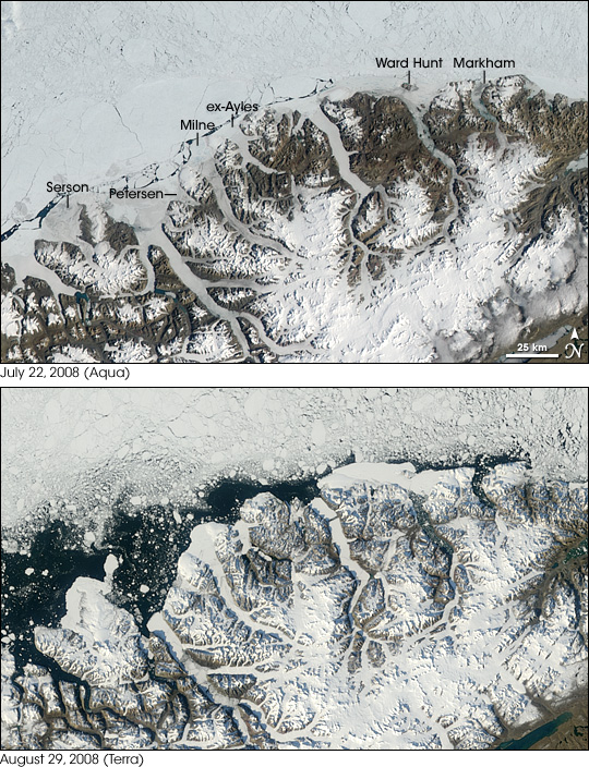 Satellite  image overviews of the Ellesmere coast, July 22 and August 29, 2008.