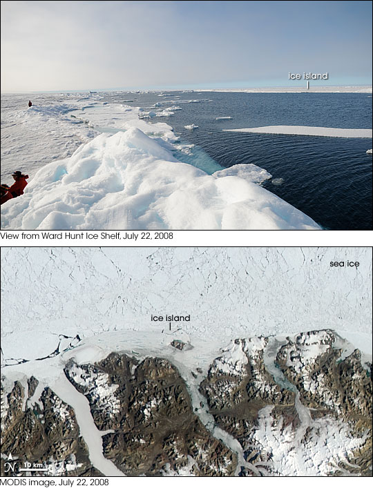 Ground-based photograph and satellite image of ice island calving from Ward Hunt on July 22, 2008.