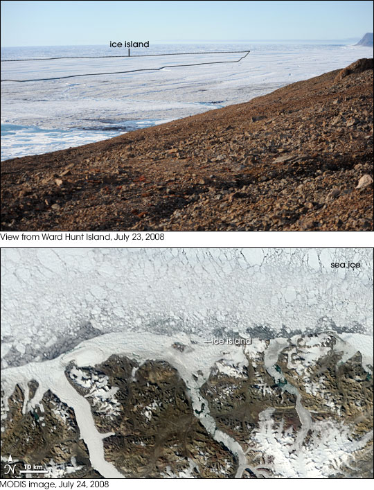 Ground-based photograph and satellite image of ice island calving from Ward Hunt on July 23, 2008.