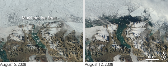 Disintegration of Markham Ice Shelf between August 6 and August 12, 2008.