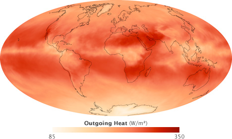 Map of poutgoing heat radiation during September 2008.