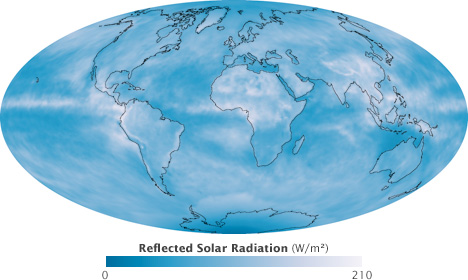 Map of reflected solar radiation during September 2008.