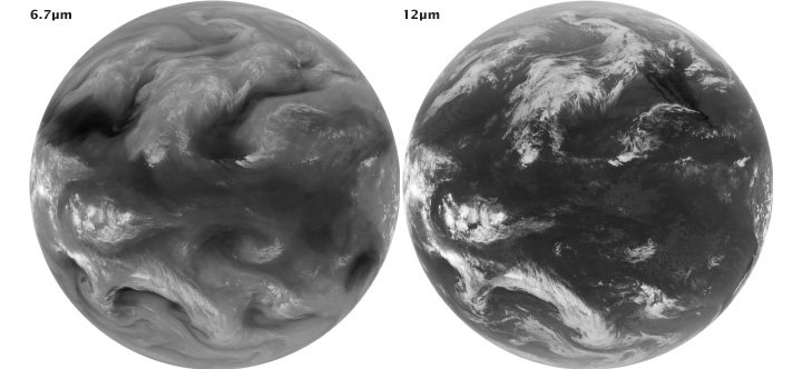 Mid- and thermal-infrared images from GOES.