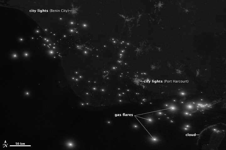 Nighttime visible image of the Niger River Delta.