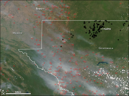 Satellite image and map of fires and Mayan ruins in Guatemala