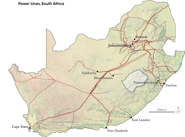 Map  of long-distance power transmission lines, South Africa.