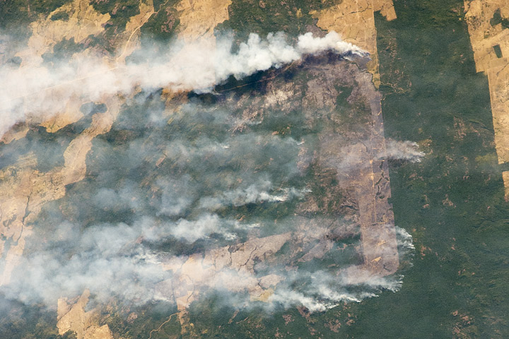 Photograph of agricultural burning in Brazil taken from the International Space Station.