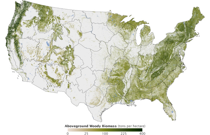 Map of Biomass in the United States.