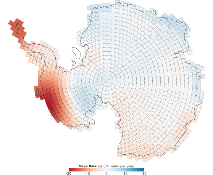 Map of mass balance trend in Antarctica