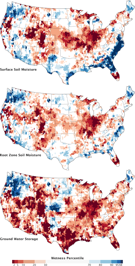 Maps of surface soil moisture, root zone soil mositure, and ground water storage for the Untied States in August, 2012.
