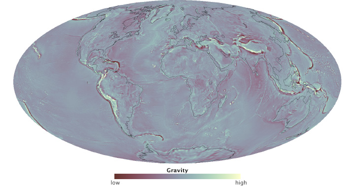 Map of global gravity anomaly.