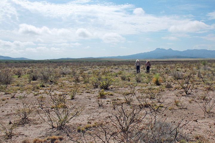Two ranchers walk across the plains of drought-stricken West Texas in July 2011.