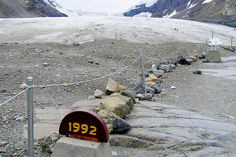 Photograph of the retreating Athabasca Glacier, Jasper National Park, Canada.