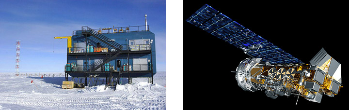 Images of the Atmospheric Research Observatory and Polar Operational Environmental Satellite.