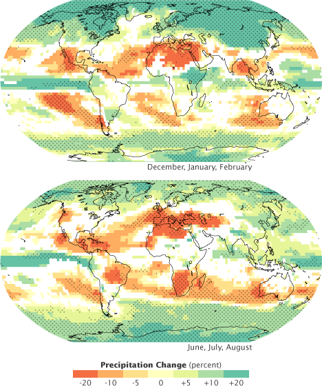 Maps of predicted future precipitation based on global circulation models.