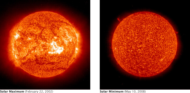 Extreme ultraviolet images of the sun during Solar Max and Solar Minimum.