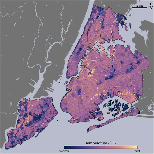 New York temperatures measured by Landsat, August 14, 2002