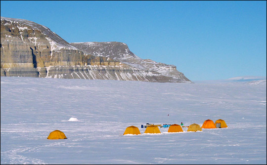 Photograph of researcher's tents on the Petermann Glacier, Greenland.