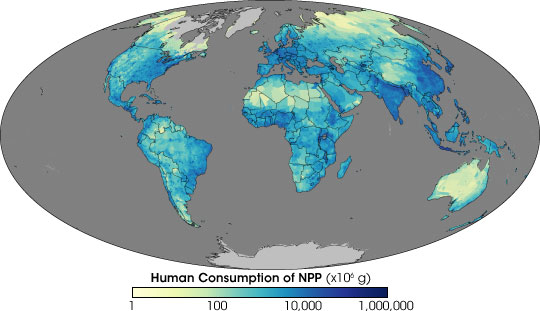Human appropriated net primary productivity (millions of grams)