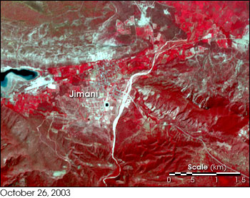 High-resolution satellite image from NASA�s Terra satellite showing Jimani, Dominican Republic, before May 2004 flood event on October 26, 2003.