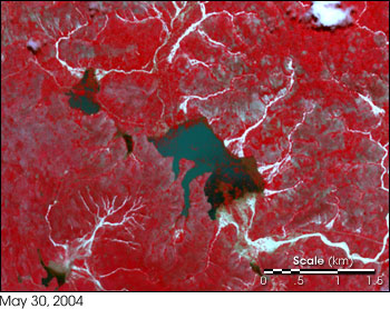 High-resolution satellite image from NASA's Terra satellite showing Mapou, Haiti, after May 2004 flood event on May 30, 2004.