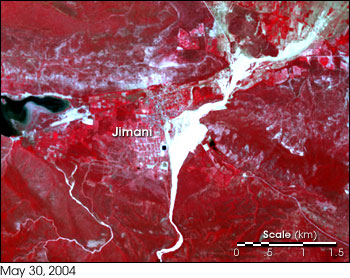High-resolution satellite image from NASA�s Terra satellite showing Jimani, Dominican Republic, after May 2004 flood event on May 30, 2004.