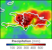 This false-color map of Hispaniola shows how much rain fell that week. Dark red shows where more than 500 mm of rain fell.