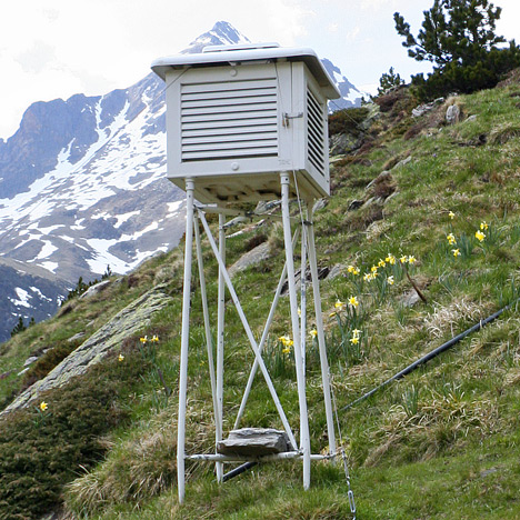 Photograph of a stevenson screen in the Refuge d'Espingo, French Pyrenees.