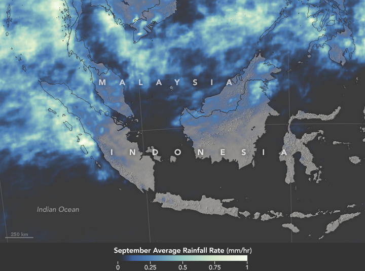 Map of monthly average rainfall in Indonesia for September 2015