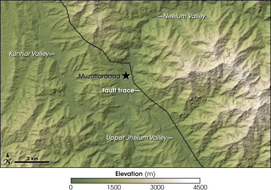Map of fault trace from the 2005 Kashmir earthquake overlaid on a topographic map.