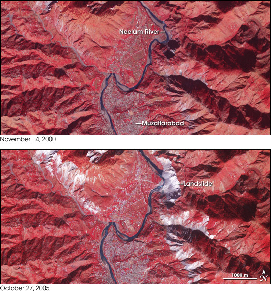 Satellite images from before and after the 2005 Kashmir Earthquake.