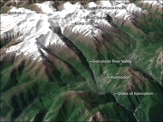 3D Perspective View of Karmadon and Mount Kazbek