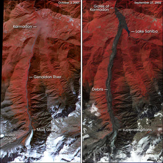Satellite Image Pair Showing Karmadon before and after the Kolka Glacier Collapse