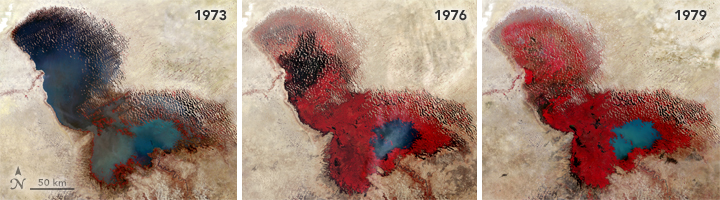Triptych of Landsat images: 1973/1976/1979