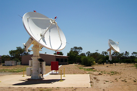 Photograph of satellite dishes at the Alice Springs Data Acquisition Facility.