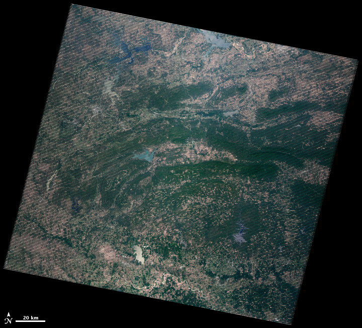 Landsat image of the Ouachita Mountains, collected on June 26, 2012 2012.