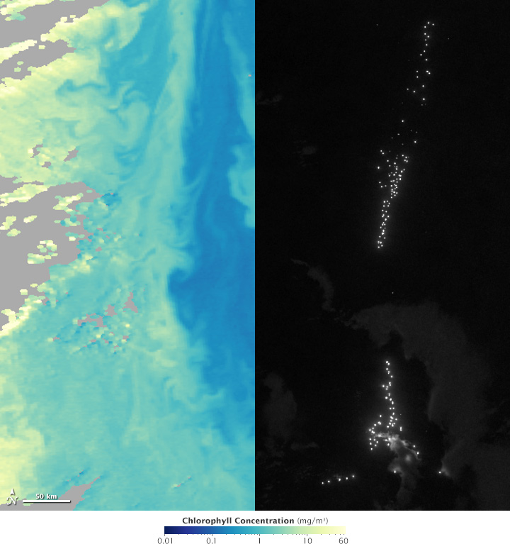 Map of chlorophyll vs night lights on April 17 and 18, 2012.