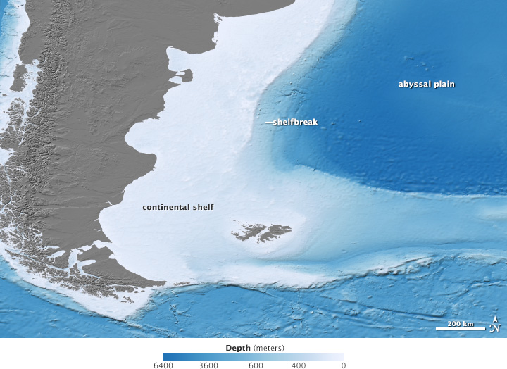 Map of Malvinas bathymetry
