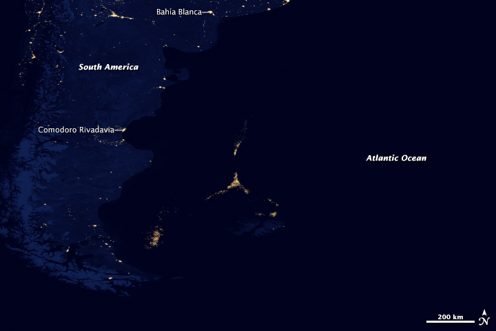 Composite satellite image of lights—Argentina coast.