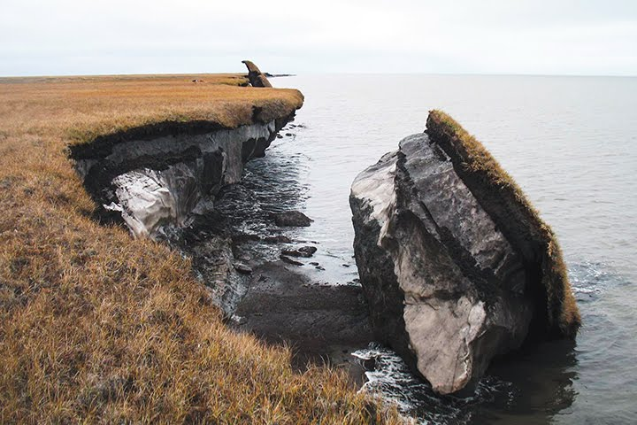Exposed permafrost along the coast of Alaska.