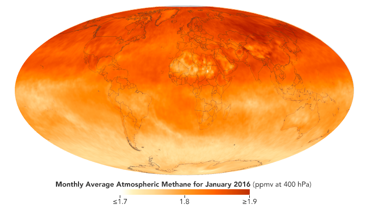 Atmospheric methane is especially prominent in the north hermisphere
