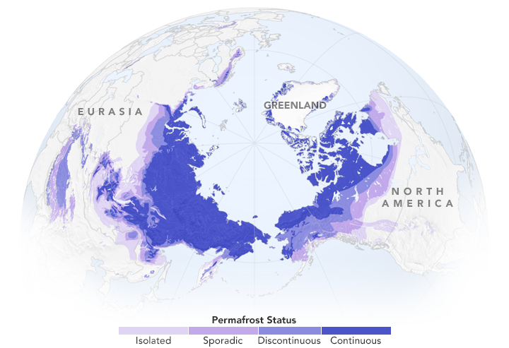 Permafrost is common in the northern hemisphere.