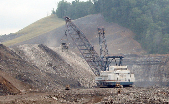 Photograph of a dragline operating in a West Virginia strip mine.