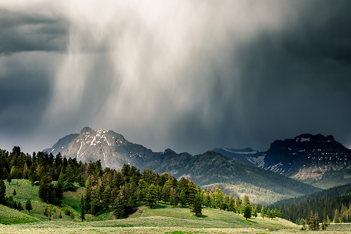 Rain falling over Yellowstone's Lamar Valley