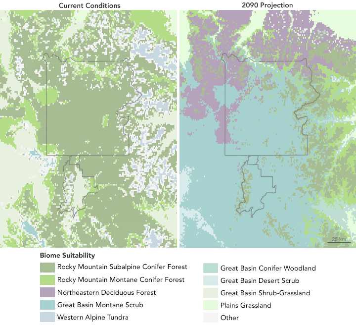 Maps of biome change expected within and around Yellowstone Nationkal Park