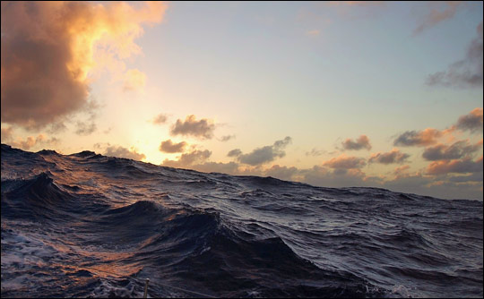 Photograph of mid-ocean waves.