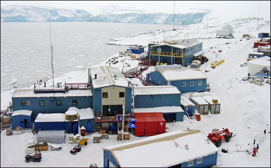 Photograph of Palmer Station, Antarctica.