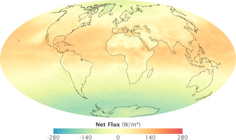 Global map of net flux for August 2008.